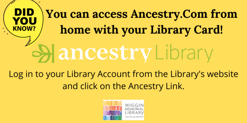 Use Ancestry from home with your Library card!