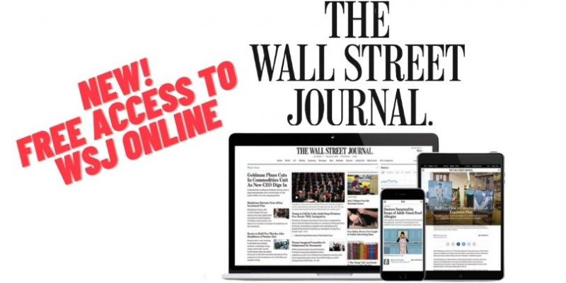 Open the Wall Street Journal from home with your Library Card!